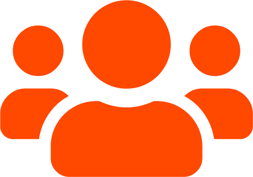 orange icon of three people